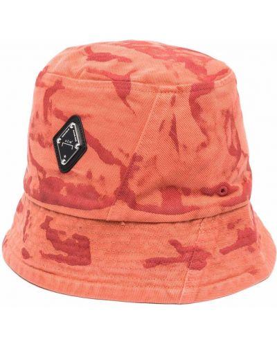 Pomarańczowy kapelusz bawełniany z printem A-cold-wall*