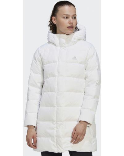 Белая длинная куртка Adidas