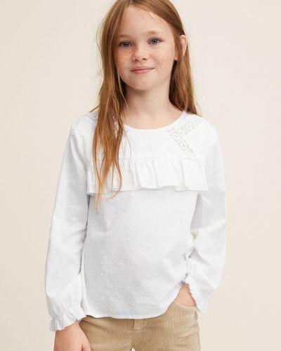 Белая блуза с вырезом Mango Kids