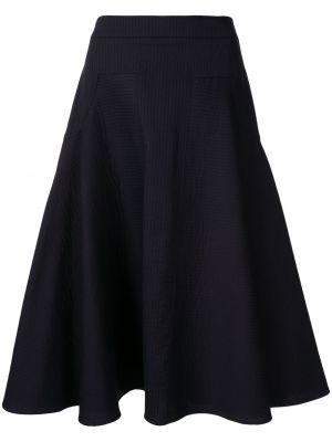 Приталенная расклешенная синяя юбка миди в рубчик Palmer / Harding
