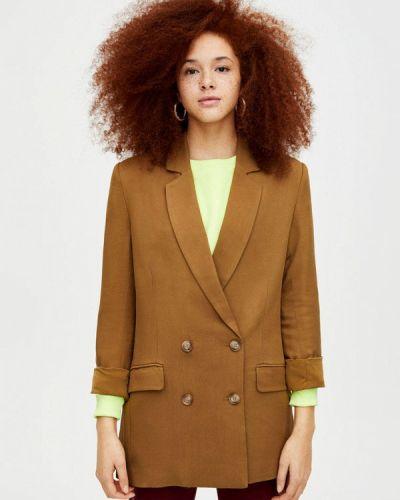 Коричневый пиджак осенний Pull&bear