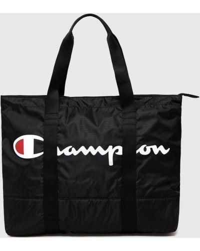 Czarna torebka duża z printem Champion