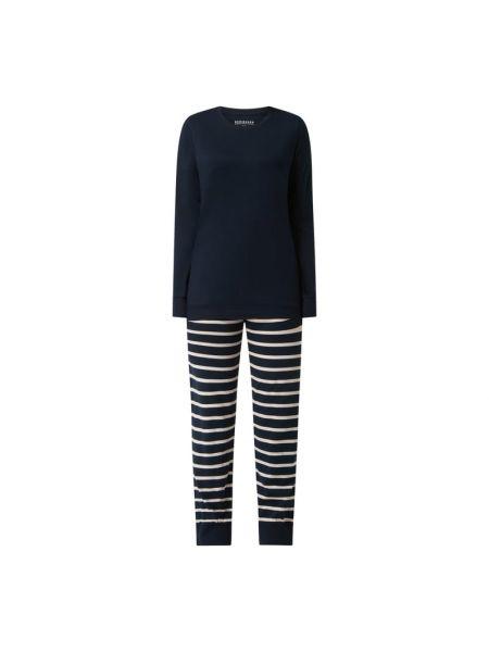 Niebieska piżama bawełniana w paski Schiesser