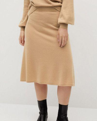 Бежевая прямая юбка карандаш Violeta By Mango