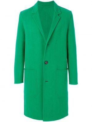 Zielony płaszcz wełniany z długimi rękawami Ami Paris