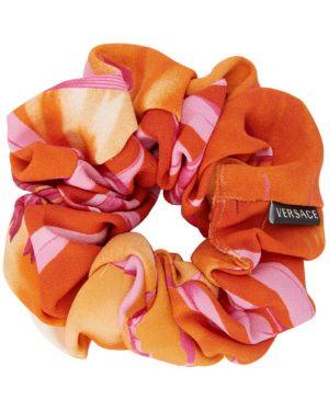 Opaska na głowę jedwab różowy Versace