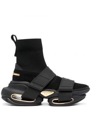 Кожаные высокие кроссовки - черные Balmain