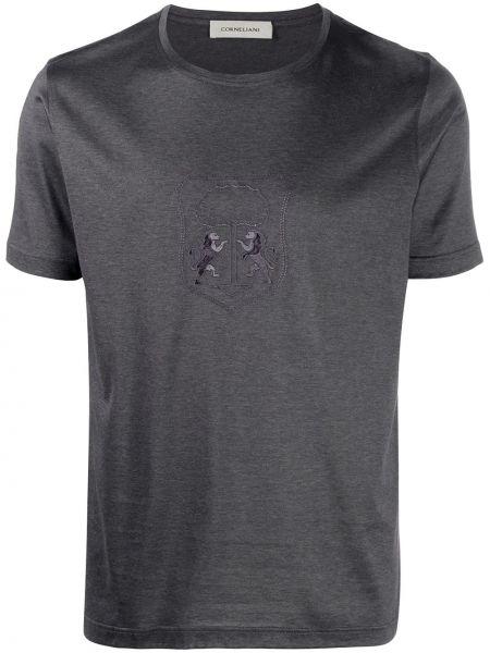 Хлопковая серая с рукавами футболка Corneliani
