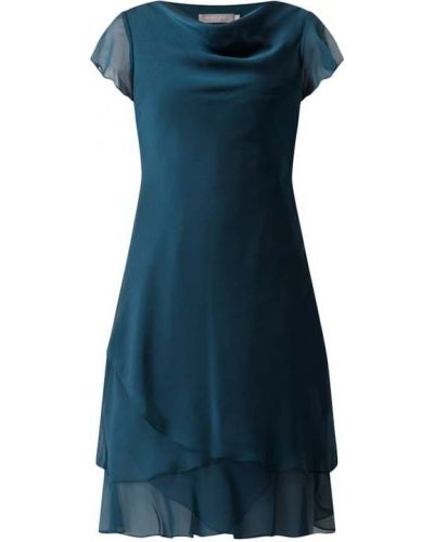 Sukienka koktajlowa z szyfonu krótki rękaw turkusowa Christian Berg Cocktail
