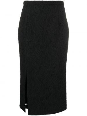 Черная с завышенной талией юбка карандаш на молнии с разрезом Rochas