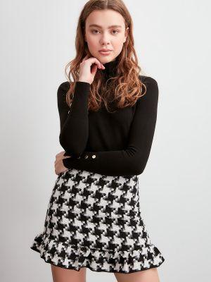 Czarna spódnica bawełniana kaskadowa Trendyol
