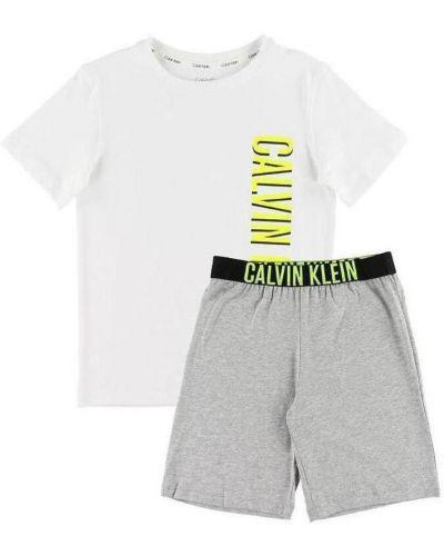 Piżama z koszulą bawełniana elegancka krótki rękaw Calvin Klein