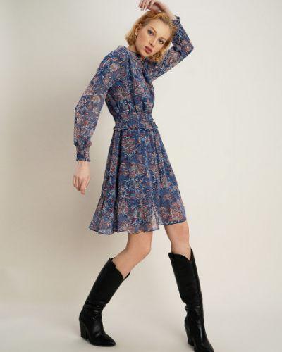 С рукавами трикотажное синее платье макси Ostin