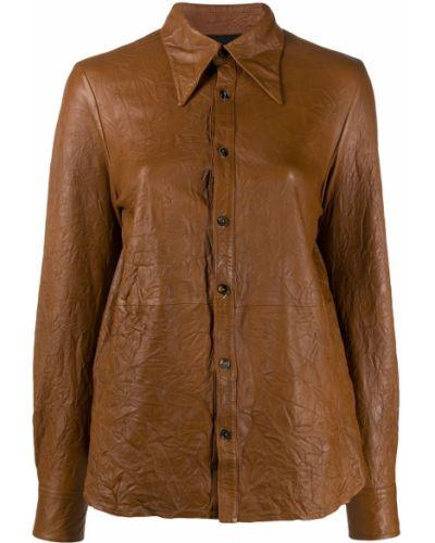 Коричневая классическая рубашка с воротником с манжетами на пуговицах Zadig&voltaire