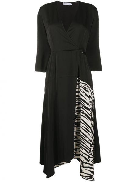 С рукавами черное платье с вырезом Calvin Klein