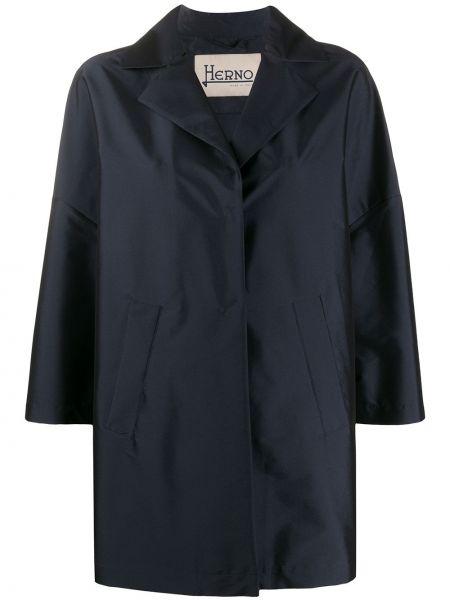 Однобортное терракотовое укороченное пальто с воротником на пуговицах Herno