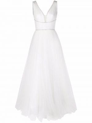 Белое платье без рукавов из фатина Jenny Packham