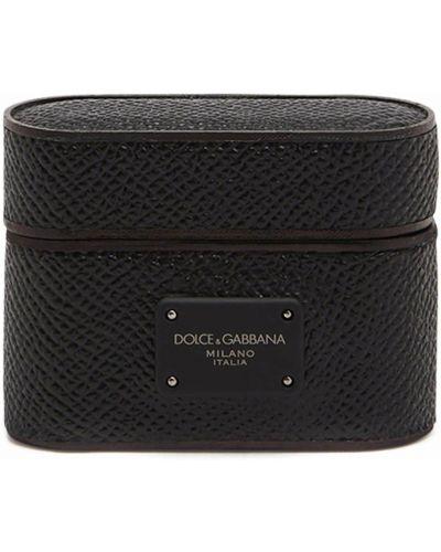 Кожаные черные боксеры с нашивками Dolce & Gabbana