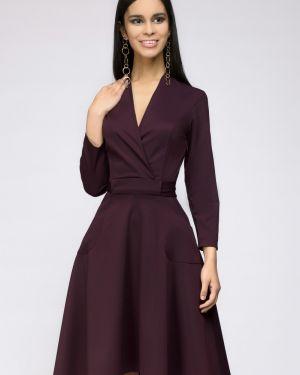 С рукавами костюмное повседневное платье с запахом из вискозы 1001 Dress