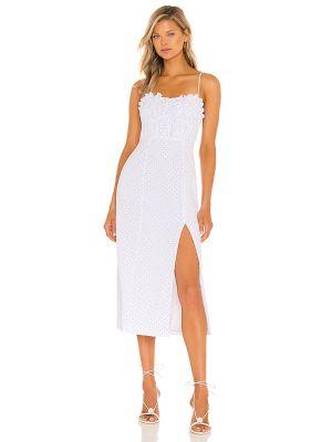 Белое платье миди с оборками на молнии Majorelle