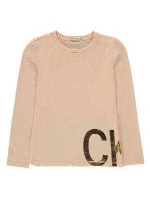 Koszula jeansowa bawełniana z długimi rękawami z printem Calvin Klein