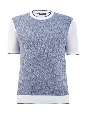 Синяя кашемировая джемпер с короткими рукавами Bertolo Cashmere