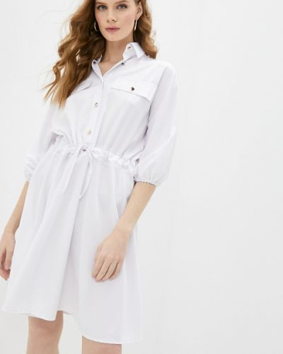 Белое платье-рубашка Pink Summer