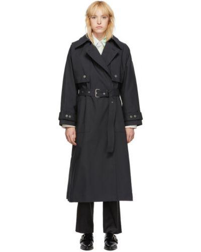 Черное длинное пальто с воротником с карманами 3.1 Phillip Lim