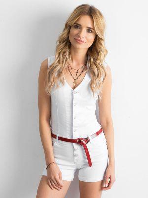 Biały kombinezon jeansowy bawełniany Fashionhunters