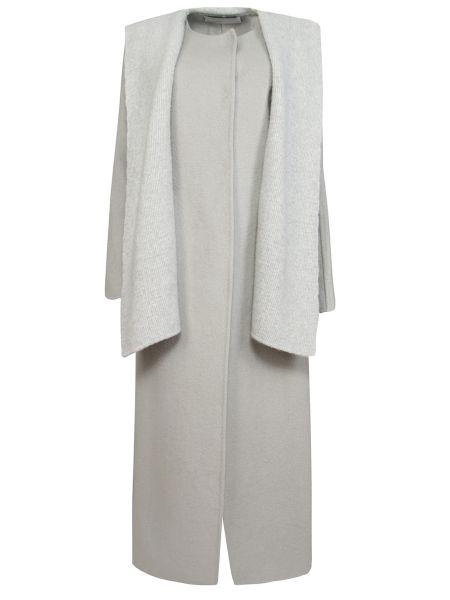 Кашемировое серое пальто с капюшоном на кнопках с капюшоном Gentryportofino