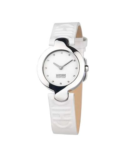 Кварцевые часы на кожаном ремешке водонепроницаемые Moschino