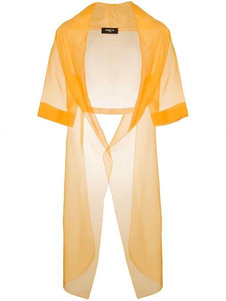 Шелковый желтый короткая куртка с короткими рукавами Paule Ka
