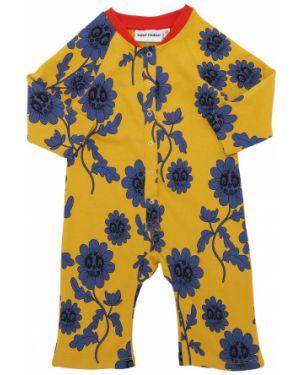 Bawełna z rękawami żółty pajacyk z dekoltem Mini Rodini