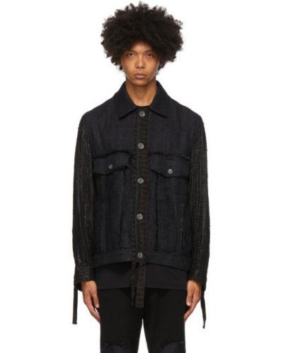 Czarna długa kurtka z długimi rękawami zapinane na guziki Song For The Mute