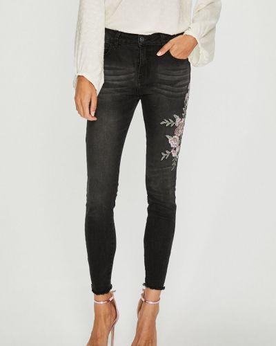 Черные джинсы-скинни с вышивкой с поясом Sublevel