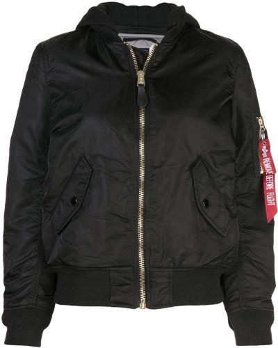 Куртка с капюшоном черная длинная Alpha Industries