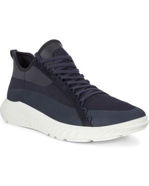 Синие текстильные кроссовки с подкладкой на шнурках Ecco