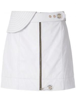 Белая прямая с завышенной талией юбка мини на молнии à La Garçonne