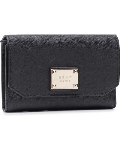 Złoty czarny portfel oversize Dkny