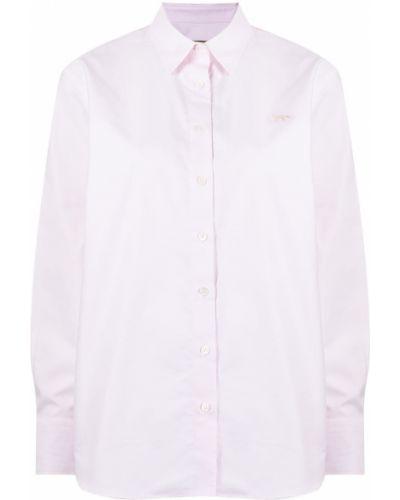 Розовая хлопковая рубашка с длинным рукавом классическая Maison Kitsuné
