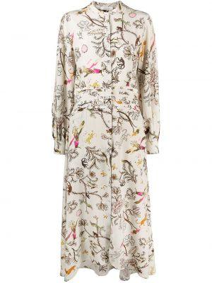 Beżowa sukienka długa z długimi rękawami z jedwabiu Dorothee Schumacher