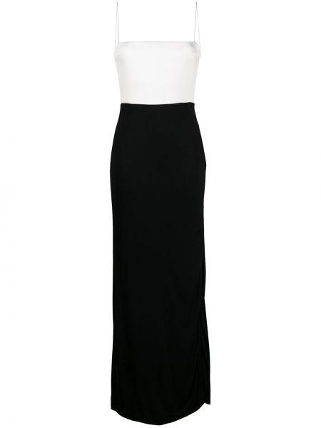 Черное тонкое платье на бретелях с вырезом Galvan