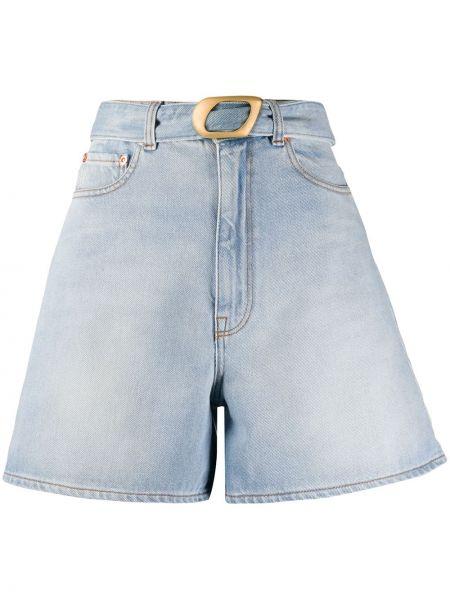 Однобортные джинсовые шорты с карманами со стразами Magda Butrym