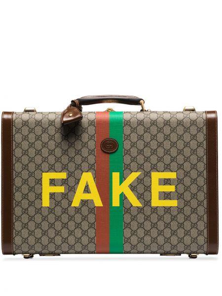 Brązowa walizka skórzana z printem Gucci