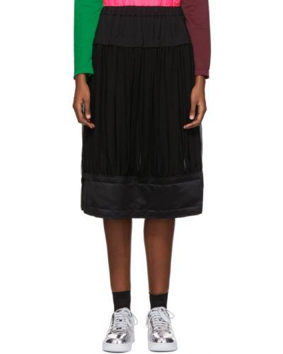 Черная плиссированная сатиновая юбка Comme Des Garçons