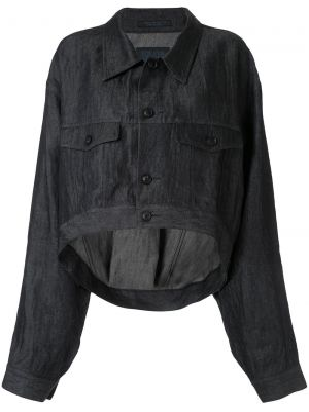 Синяя короткая куртка с воротником на пуговицах Yohji Yamamoto