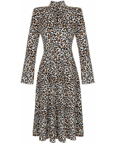 Приталенное коричневое с рукавами платье макси Artem Krivda
