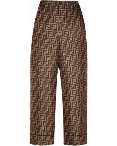 Укороченные брюки свободные с отворотами Fendi