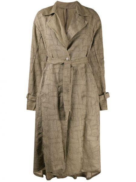 Ватное коричневое длинное пальто с поясом Masnada