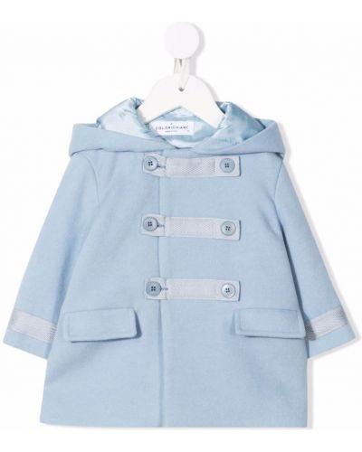 Niebieski długi płaszcz z kapturem Colorichiari
